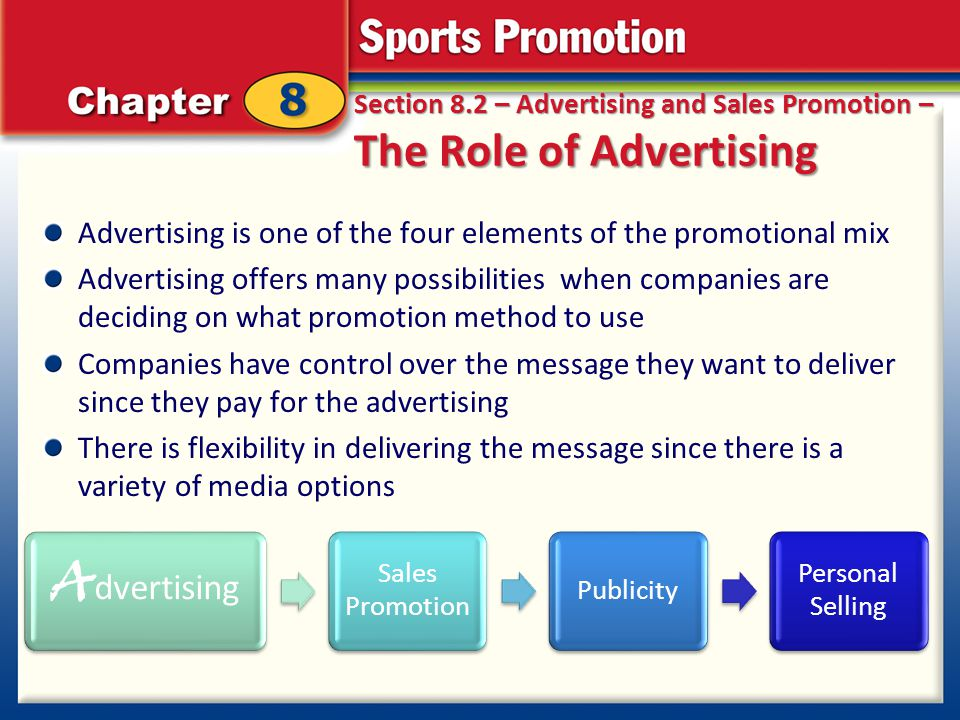 Section 8.2 – Advertising and Sales Promotion – The Role of Advertising Advertising is one of the four elements of the promotional mix Advertising off