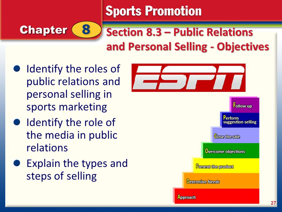 Section 8.3 – Public Relations and Personal Selling - Objectives Identify the roles of public relations and personal selling in sports marketing Ident