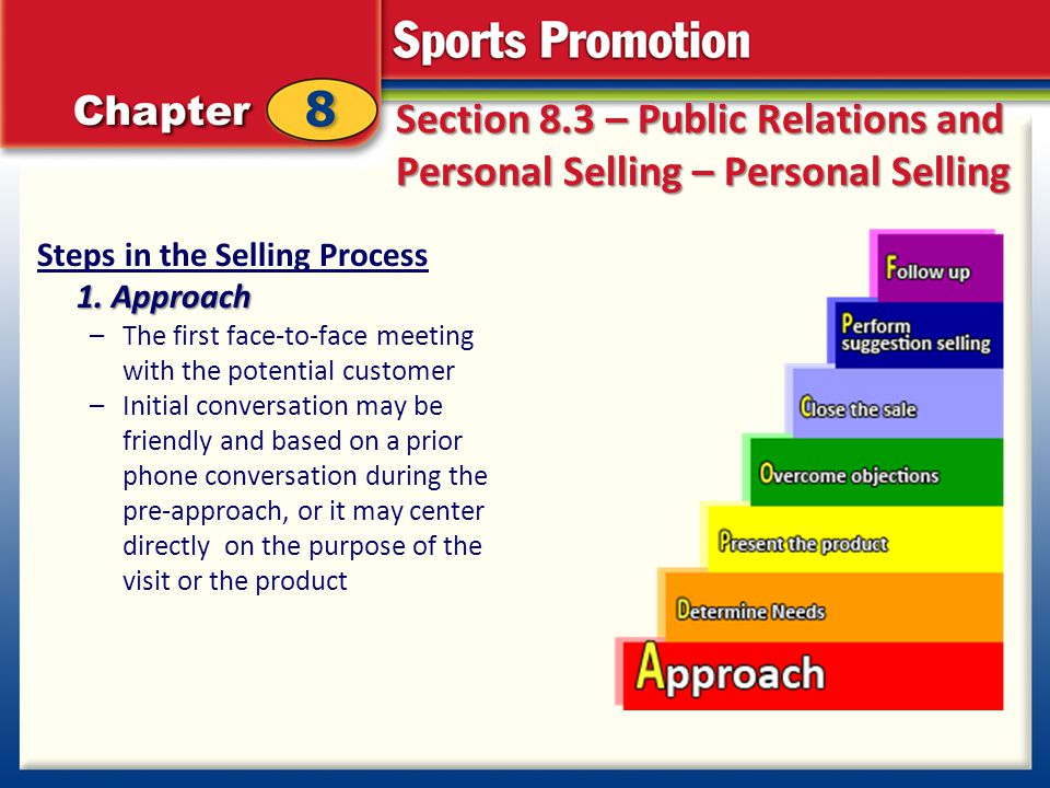 Section 8.3 – Public Relations and Personal Selling – Personal Selling Steps in the Selling Process 1. Approach –The first face-to-face meeting with t