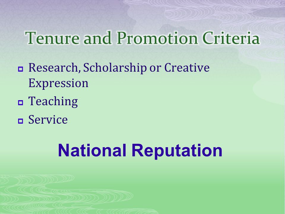 Research, Scholarship or Creative Expression Teaching Service National Reputation