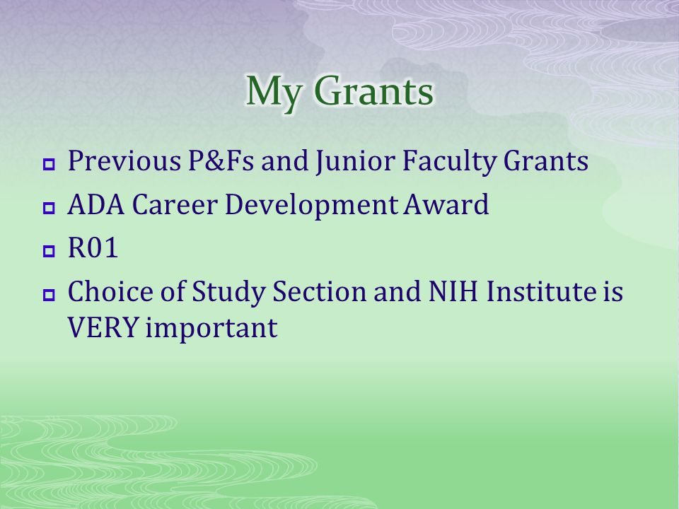 Previous P&Fs and Junior Faculty Grants ADA Career Development Award R01 Choice of Study Section and NIH Institute is VERY important