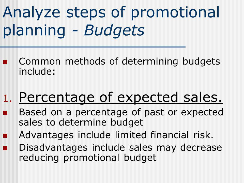 Analyze steps of promotional planning - Budgets Common methods of determining budgets include: 1. Percentage of expected sales. Based on a percentage