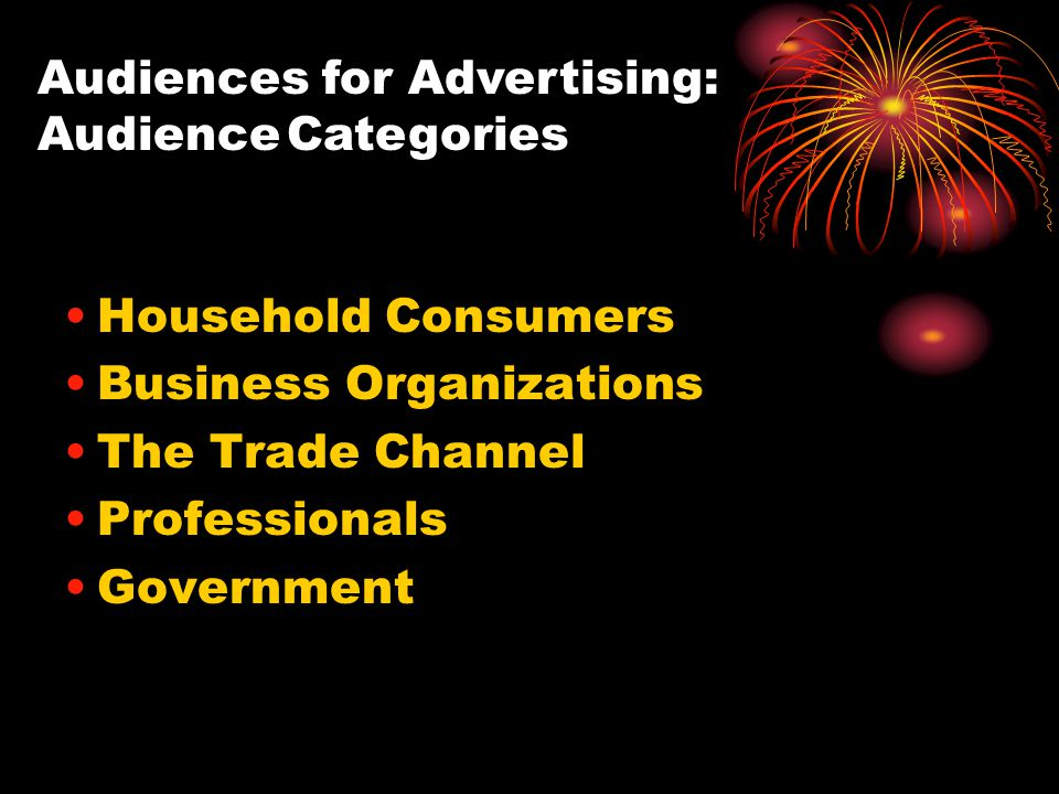 Audiences for Advertising: Audience Categories Household Consumers Business Organizations The Trade Channel Professionals Government