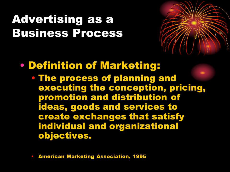 Advertising as a Business Process Definition of Marketing: The process of planning and executing the conception, pricing, promotion and distribution o