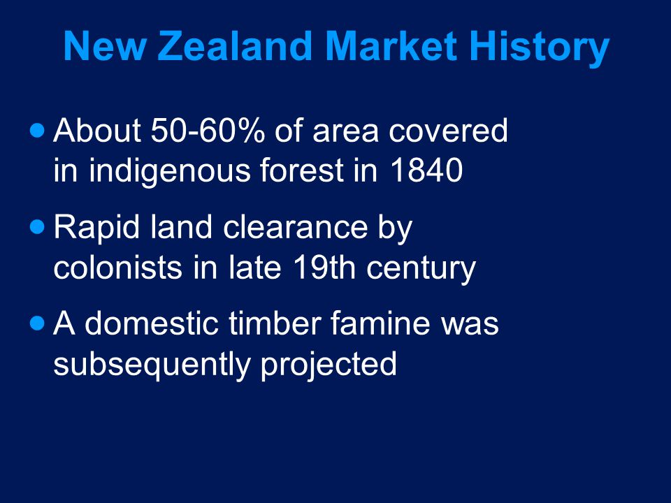 New Zealand Market History About 50-60% of area covered in indigenous forest in 1840 Rapid land clearance by colonists in late 19th century A domestic timber famine was subsequently projected