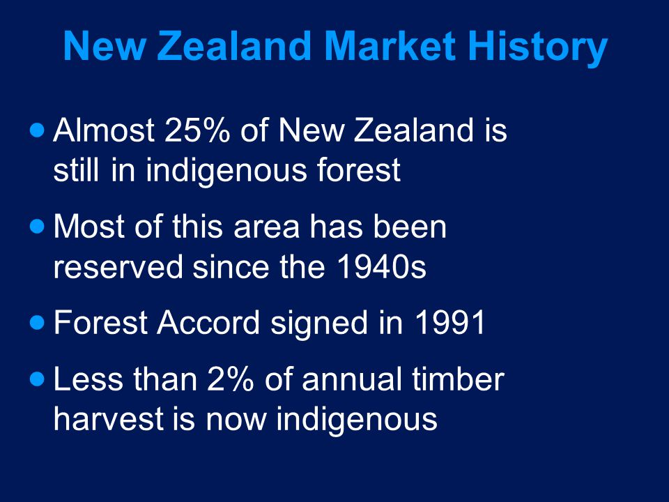 New Zealand Market History Almost 25% of New Zealand is still in indigenous forest Most of this area has been reserved since the 1940s Forest Accord s