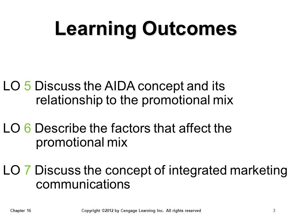 Chapter 16 Copyright ©2012 by Cengage Learning Inc. All rights reserved 3 LO 5 Discuss the AIDA concept and its relationship to the promotional mix LO