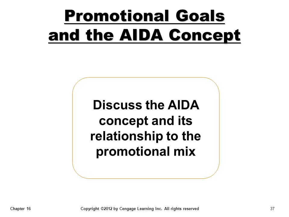 Chapter 16 Copyright ©2012 by Cengage Learning Inc. All rights reserved 37 Discuss the AIDA concept and its relationship to the promotional mix Promot