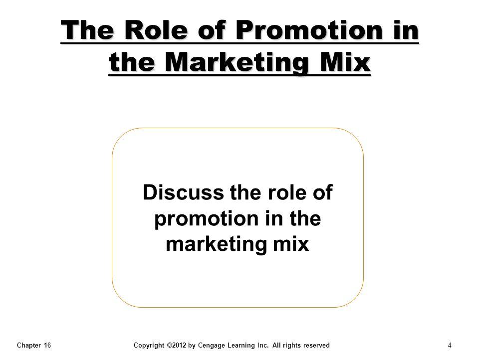 Chapter 16 Copyright ©2012 by Cengage Learning Inc. All rights reserved 4 Discuss the role of promotion in the marketing mix The Role of Promotion in