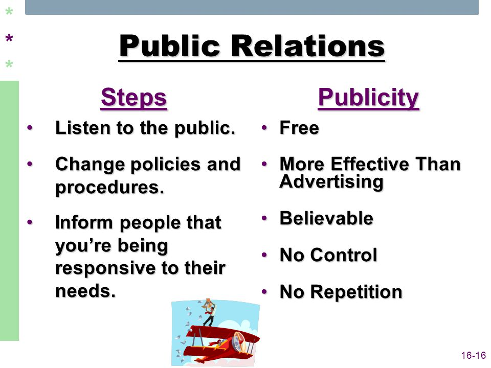 ****** 16-16 Public Relations Steps Listen to the public.Listen to the public.
