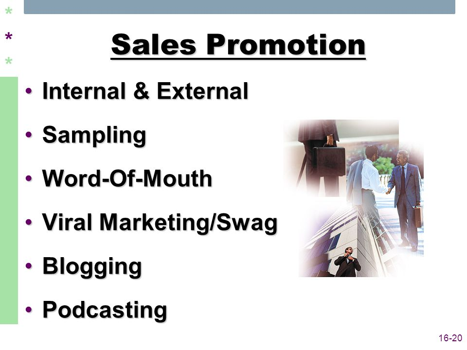 ****** 16-20 Sales Promotion Internal & ExternalInternal & External SamplingSampling Word-Of-MouthWord-Of-Mouth Viral Marketing/SwagViral Marketing/Swag BloggingBlogging PodcastingPodcasting