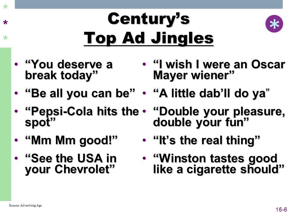 ****** 16-6 Centurys Top Ad Jingles You deserve a break todayYou deserve a break today Be all you can beBe all you can be Pepsi-Cola hits the spotPepsi-Cola hits the spot Mm Mm good!Mm Mm good.