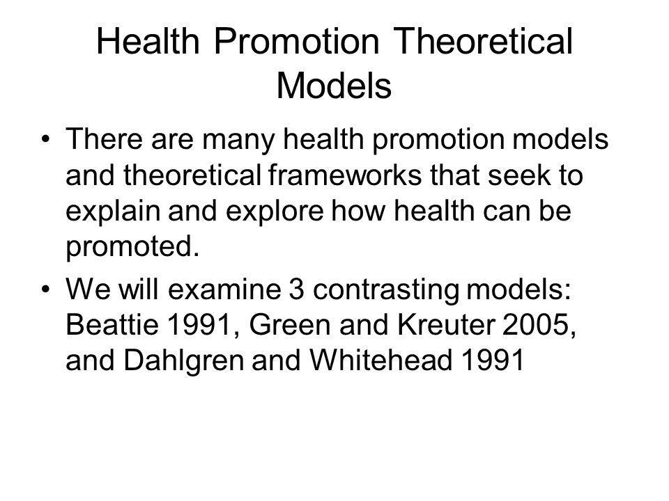 Health Promotion Theoretical Models There are many health promotion models and theoretical frameworks that seek to explain and explore how health can