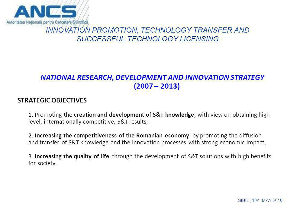 NATIONAL RESEARCH, DEVELOPMENT AND INNOVATION STRATEGY (2007 – 2013) STRATEGIC OBJECTIVES 1. Promoting the creation and development of S&T knowledge,