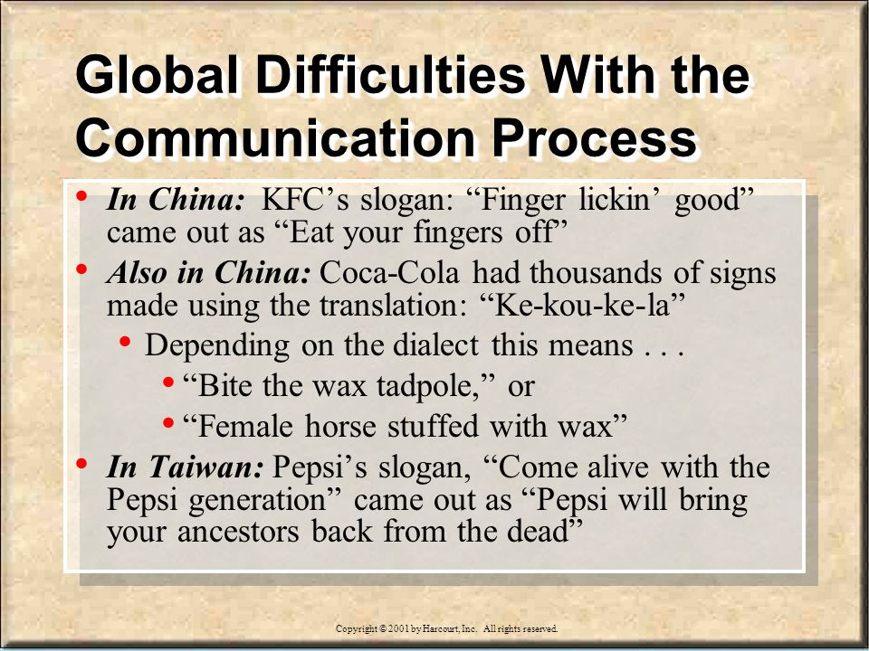 15-18 Global Difficulties With the Communication Process In China: KFCs slogan: Finger lickin good came out as Eat your fingers off Also in China: Coca-Cola had thousands of signs made using the translation: Ke-kou-ke-la Depending on the dialect this means...