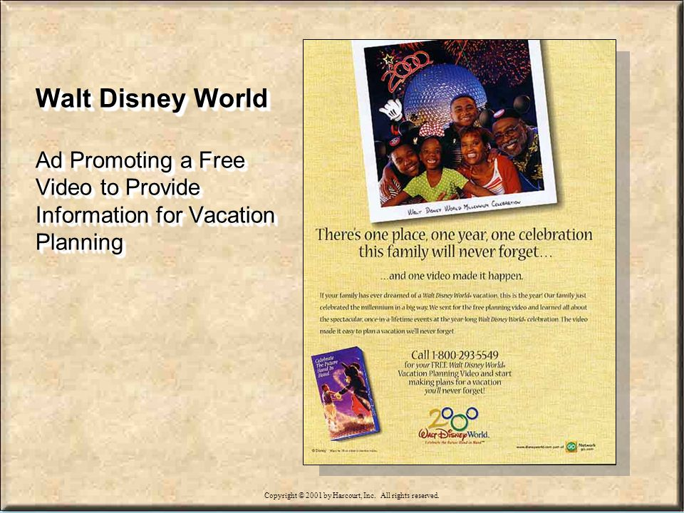 15-22 Walt Disney World Ad Promoting a Free Video to Provide Information for Vacation Planning Copyright © 2001 by Harcourt, Inc.