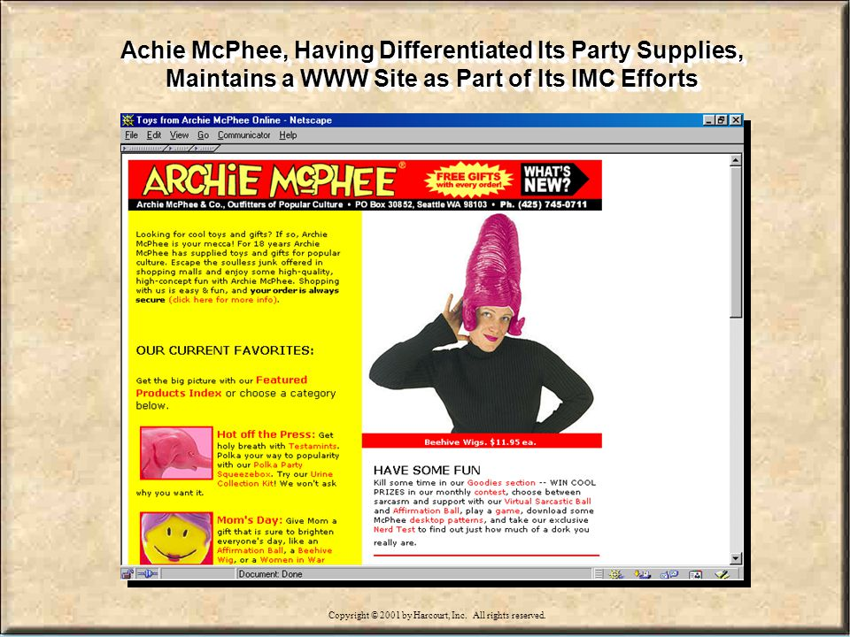 15-28 Achie McPhee, Having Differentiated Its Party Supplies, Maintains a WWW Site as Part of Its IMC Efforts Copyright © 2001 by Harcourt, Inc.