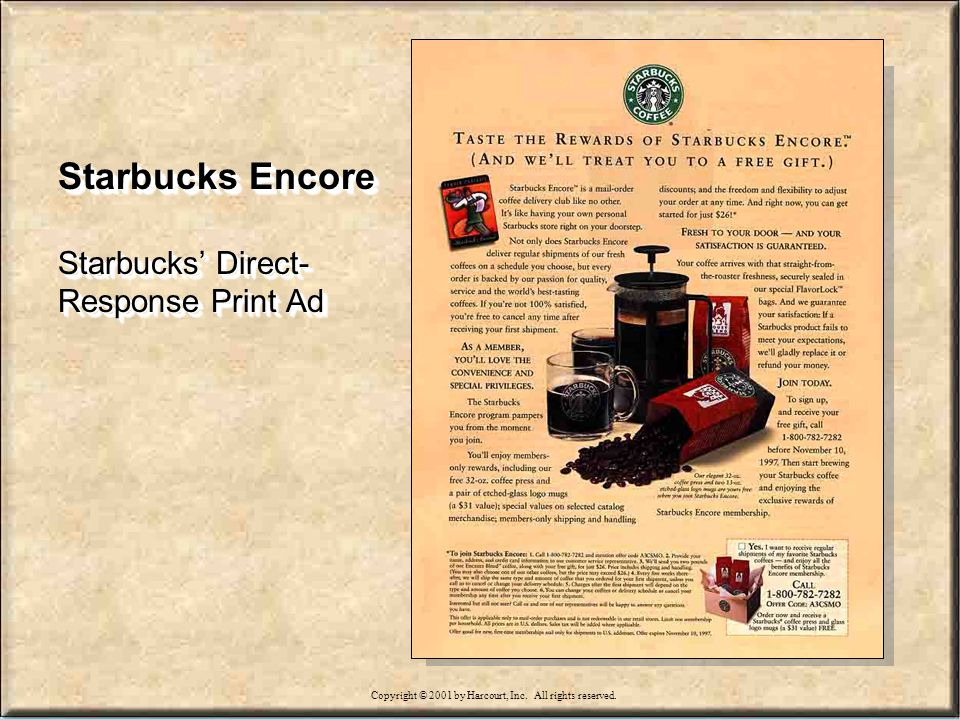 15-64 Starbucks Encore Starbucks Direct- Response Print Ad Starbucks Encore Starbucks Direct- Response Print Ad Copyright © 2001 by Harcourt, Inc.