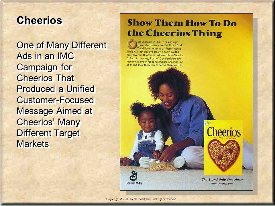 15-8 Cheerios One of Many Different Ads in an IMC Campaign for Cheerios That Produced a Unified Customer-Focused Message Aimed at Cheerios Many Different Target Markets Copyright © 2001 by Harcourt, Inc.