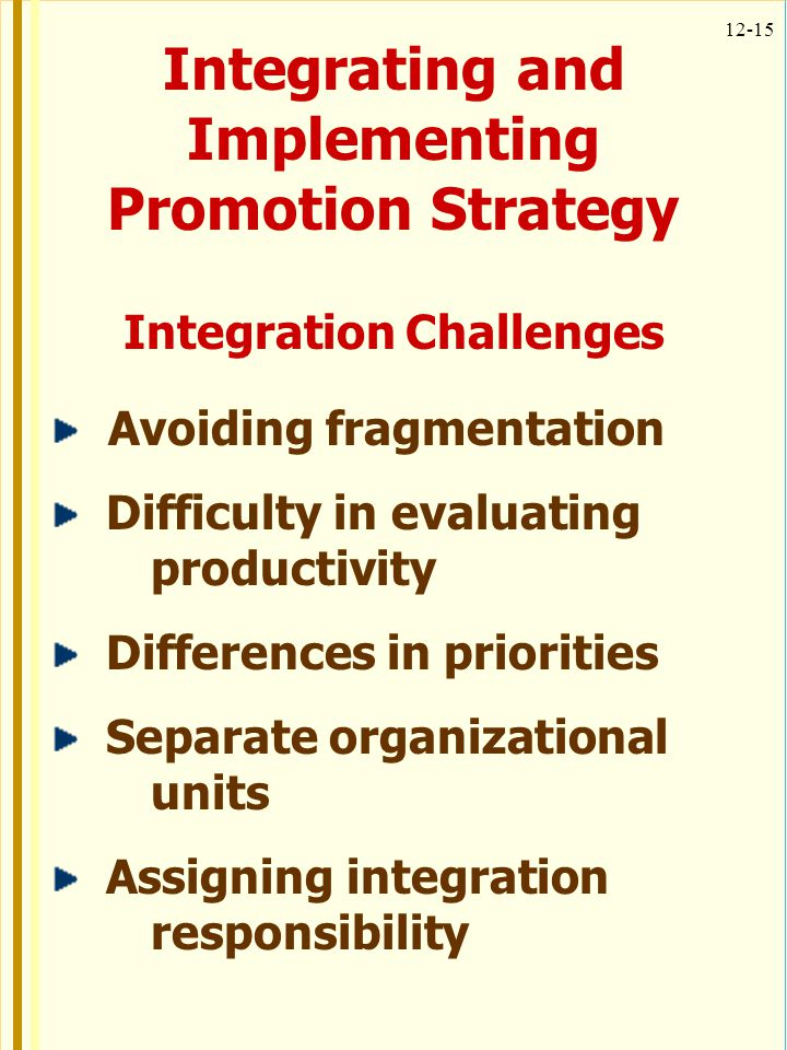 12-15 Integrating and Implementing Promotion Strategy Integration Challenges Avoiding fragmentation Difficulty in evaluating productivity Differences