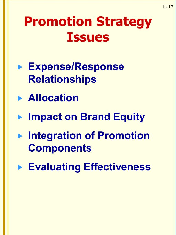 12-17 Promotion Strategy Issues Expense/Response Relationships Allocation Impact on Brand Equity Integration of Promotion Components Evaluating Effect