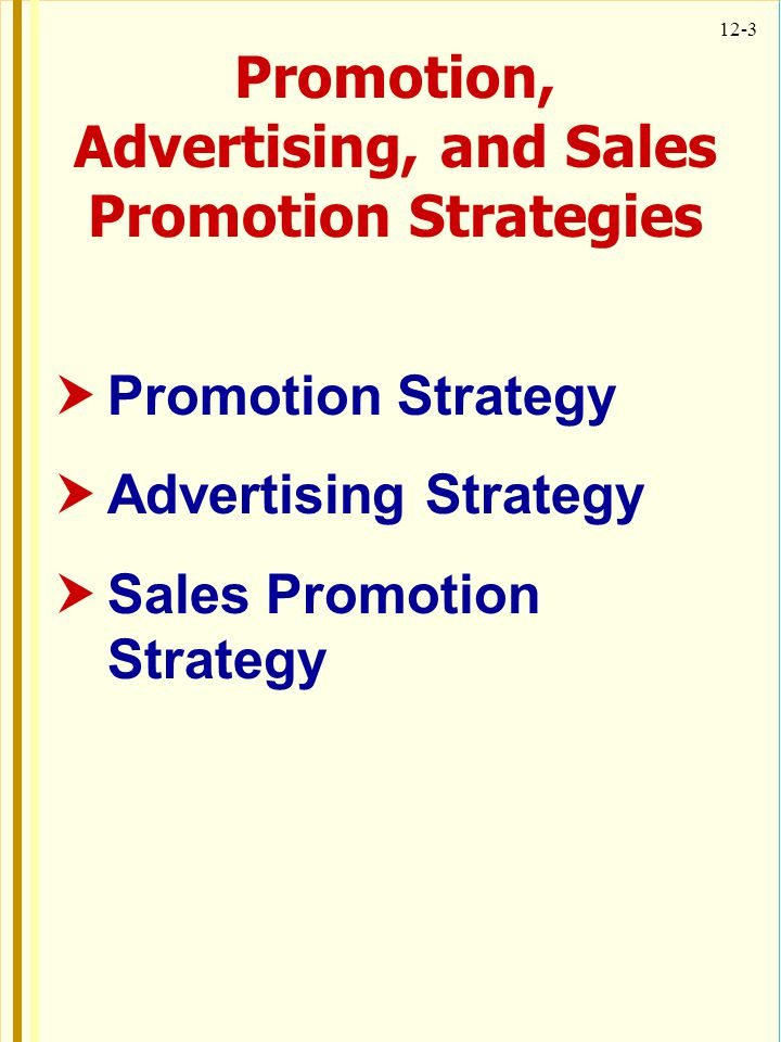 12-3 Promotion, Advertising, and Sales Promotion Strategies Promotion Strategy Advertising Strategy Sales Promotion Strategy