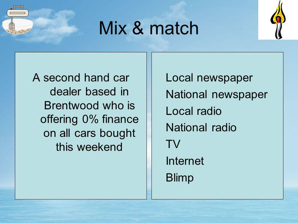 Mix & match A new magazine aimed at soap watchers Local newspaper National newspaper Local radio National radio TV Internet Blimp