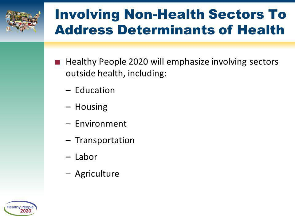 Involving Non-Health Sectors To Address Determinants of Health Healthy People 2020 will emphasize involving sectors outside health, including: –Education –Housing –Environment –Transportation –Labor –Agriculture