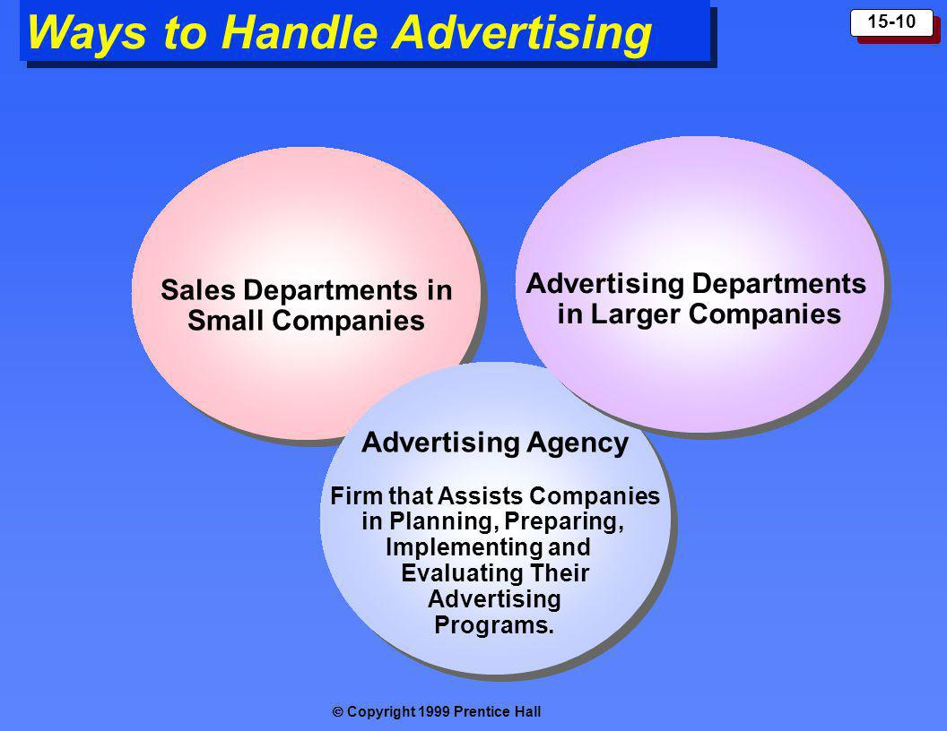 Copyright 1999 Prentice Hall 15-10 Ways to Handle Advertising Sales Departments in Small Companies Sales Departments in Small Companies Advertising Ag