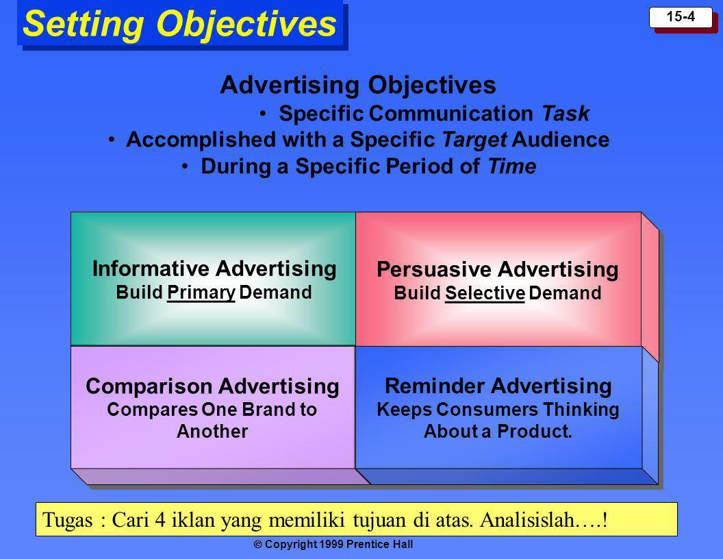 Copyright 1999 Prentice Hall 15-4 Informative Advertising Build Primary Demand Informative Advertising Build Primary Demand Setting Objectives Persuas