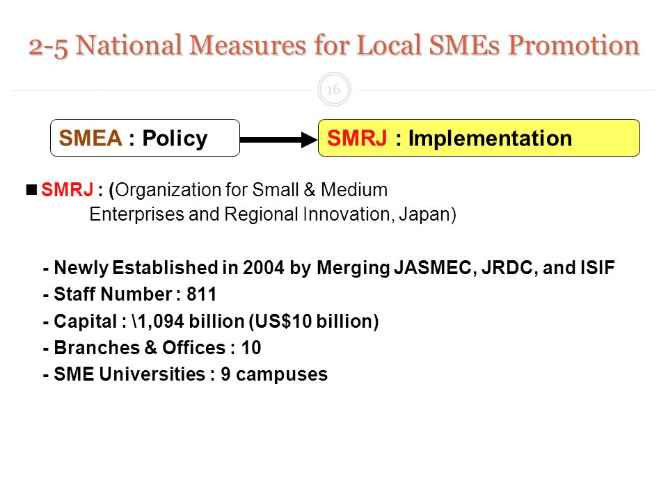 SMRJ : (Organization for Small & Medium Enterprises and Regional Innovation, Japan) - Newly Established in 2004 by Merging JASMEC, JRDC, and ISIF - Staff Number : 811 - Capital : \1,094 billion (US$10 billion) - Branches & Offices : 10 - SME Universities : 9 campuses 2-5 National Measures for Local SMEs Promotion SMRJ : ImplementationSMEA : Policy 16