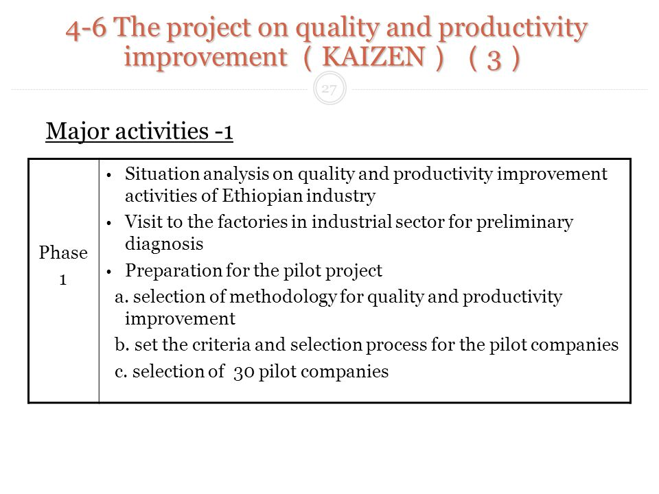 Phase 1 Situation analysis on quality and productivity improvement activities of Ethiopian industry Visit to the factories in industrial sector for preliminary diagnosis Preparation for the pilot project a.