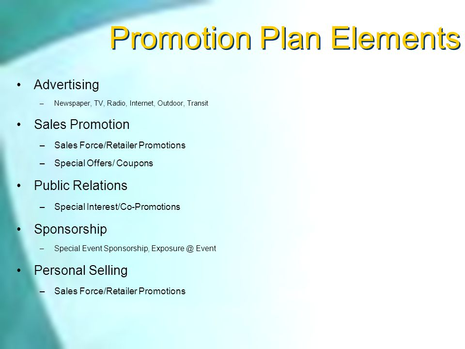 Sports Marketing Promotion Promote The sport Promote the event Inform of events Persuade to Attend Remind of details: When, What, Where, Who,… Benefits of sponsorship Return On Investment…