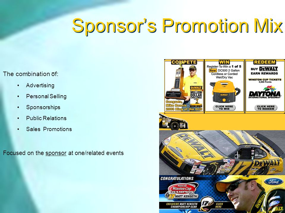 Development of Promotion Mix Promotion project suggestions : 1.Find Examples of sports Advertising OR PROMOTION (optional) 2.Develop a promotion plan For an Event/Property (required activity)