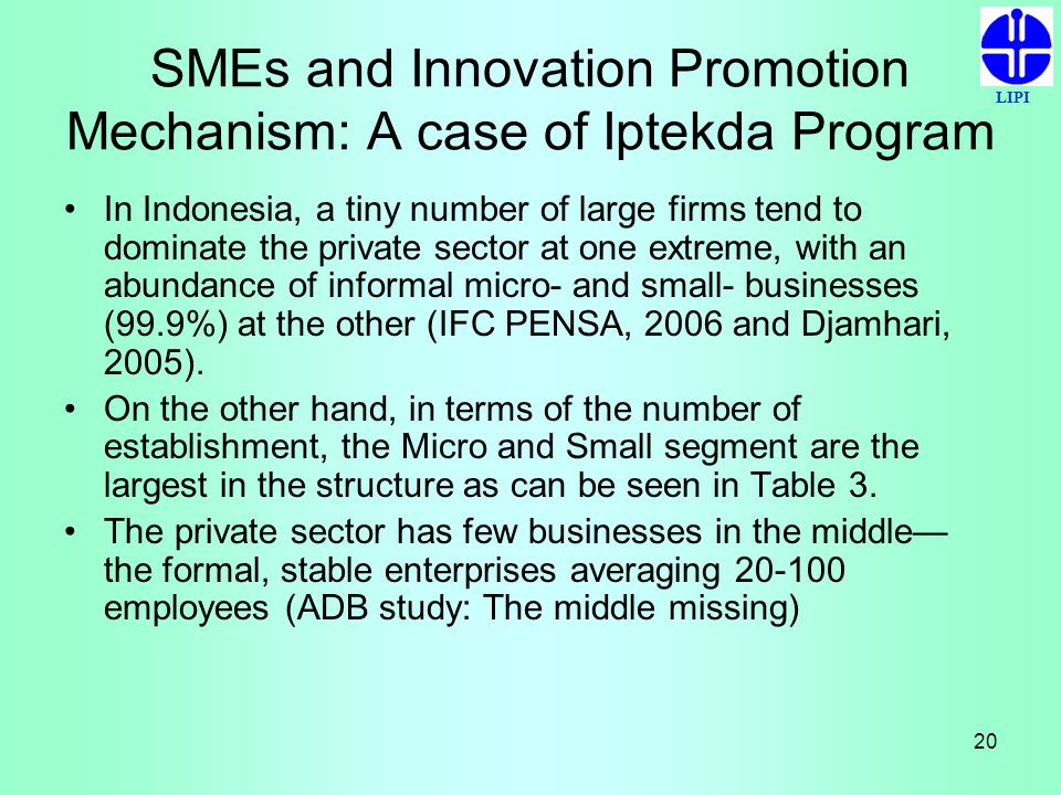 LIPI 20 SMEs and Innovation Promotion Mechanism: A case of Iptekda Program In Indonesia, a tiny number of large firms tend to dominate the private sec