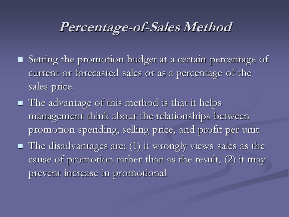Percentage-of-Sales Method Setting the promotion budget at a certain percentage of current or forecasted sales or as a percentage of the sales price.