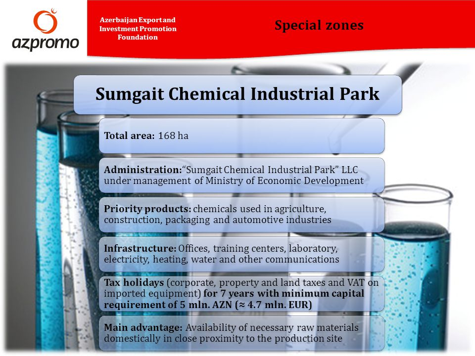 Special zones Azerbaijan Export and Investment Promotion Foundation Total area: 168 ha Administration:Sumgait Chemical Industrial Park LLC under manag