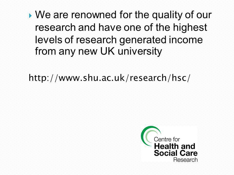 We are renowned for the quality of our research and have one of the highest levels of research generated income from any new UK university http://www.