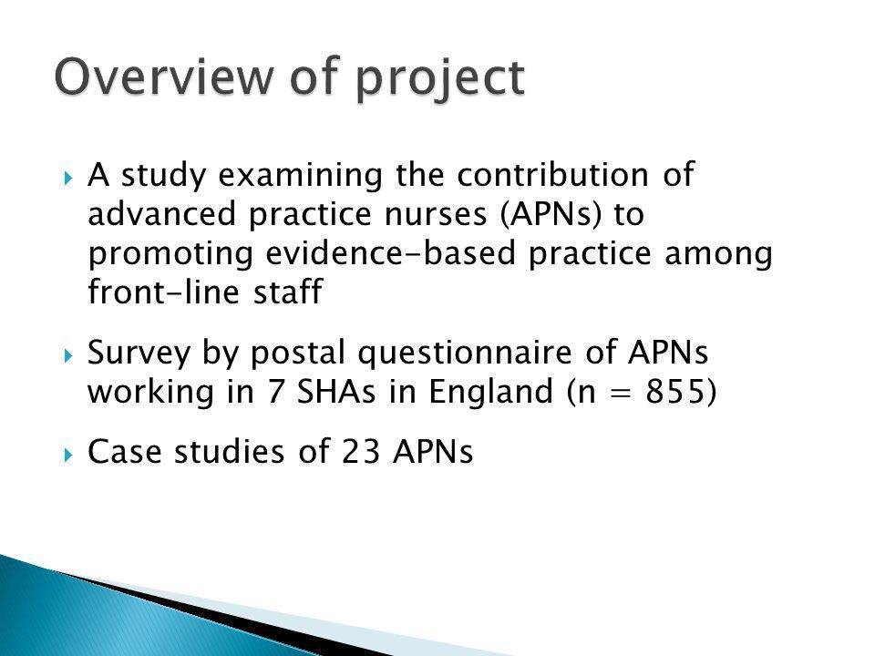 A study examining the contribution of advanced practice nurses (APNs) to promoting evidence-based practice among front-line staff Survey by postal que