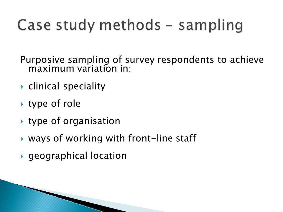 Purposive sampling of survey respondents to achieve maximum variation in: clinical speciality type of role type of organisation ways of working with f