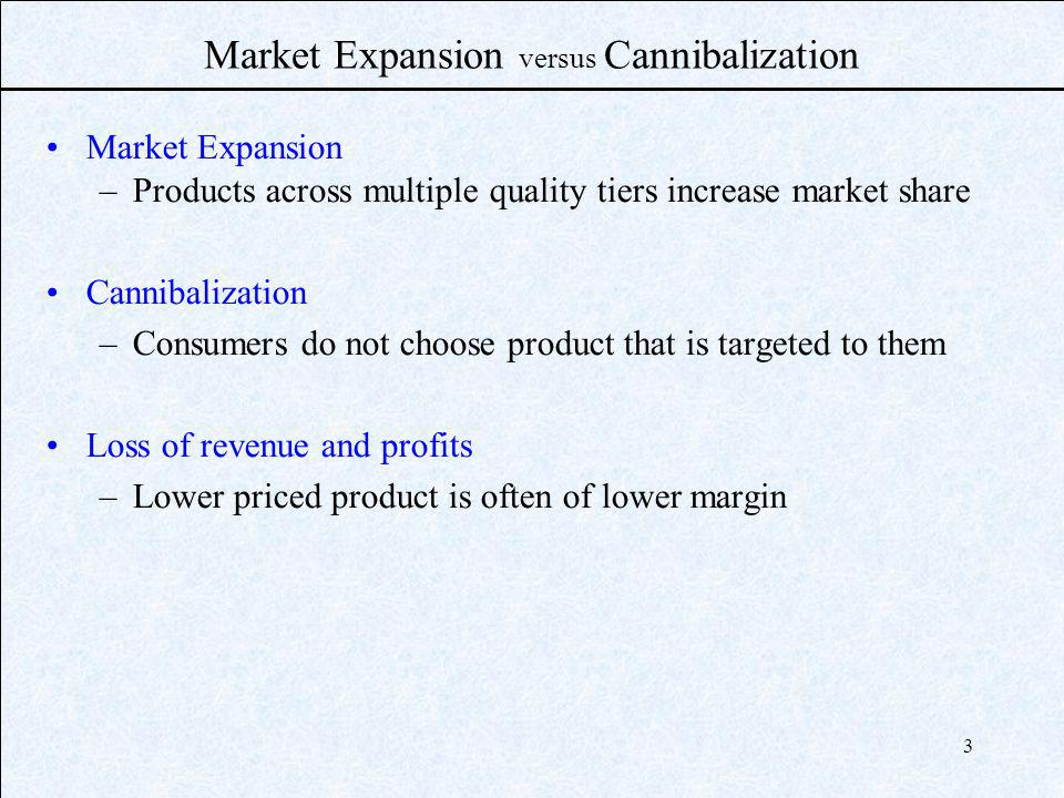 3 Market Expansion versus Cannibalization Market Expansion –Products across multiple quality tiers increase market share Cannibalization –Consumers do not choose product that is targeted to them Loss of revenue and profits –Lower priced product is often of lower margin