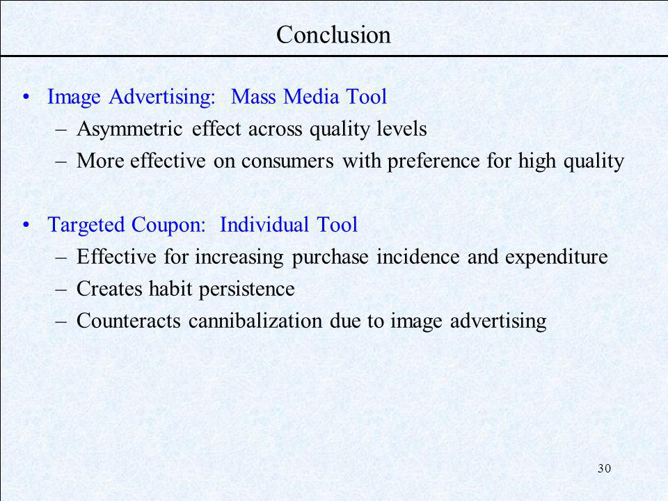 30 Conclusion Image Advertising: Mass Media Tool –Asymmetric effect across quality levels –More effective on consumers with preference for high quality Targeted Coupon: Individual Tool –Effective for increasing purchase incidence and expenditure –Creates habit persistence –Counteracts cannibalization due to image advertising