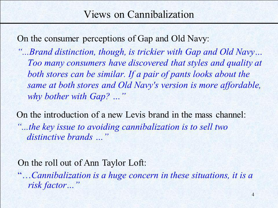 4 Views on Cannibalization On the consumer perceptions of Gap and Old Navy:...Brand distinction, though, is trickier with Gap and Old Navy… Too many consumers have discovered that styles and quality at both stores can be similar.