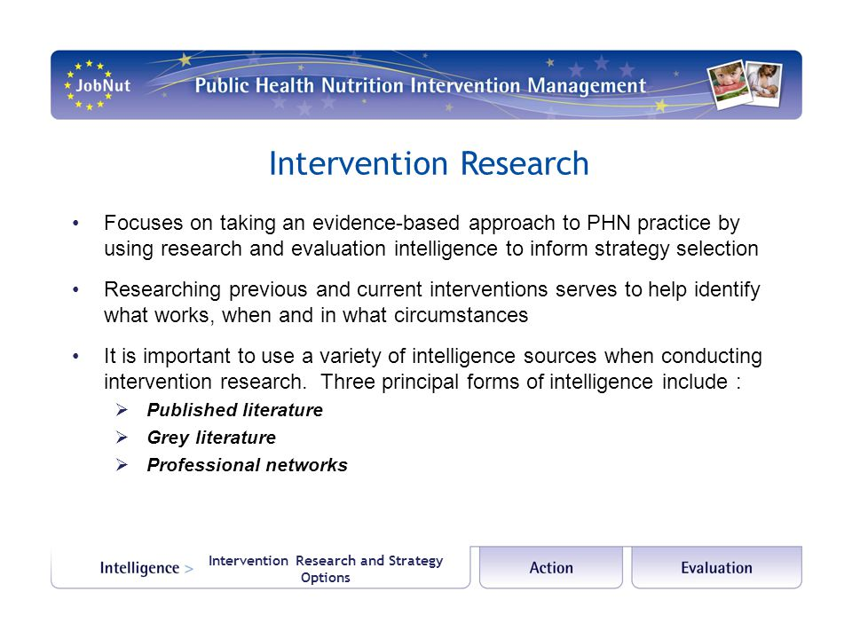 Intervention Research and Strategy Options Intervention Research Focuses on taking an evidence-based approach to PHN practice by using research and ev
