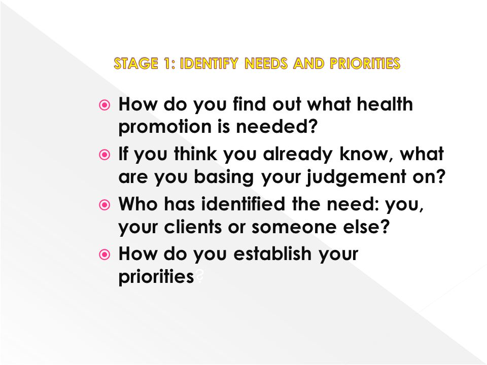How do you find out what health promotion is needed? If you think you already know, what are you basing your judgement on? Who has identified the need