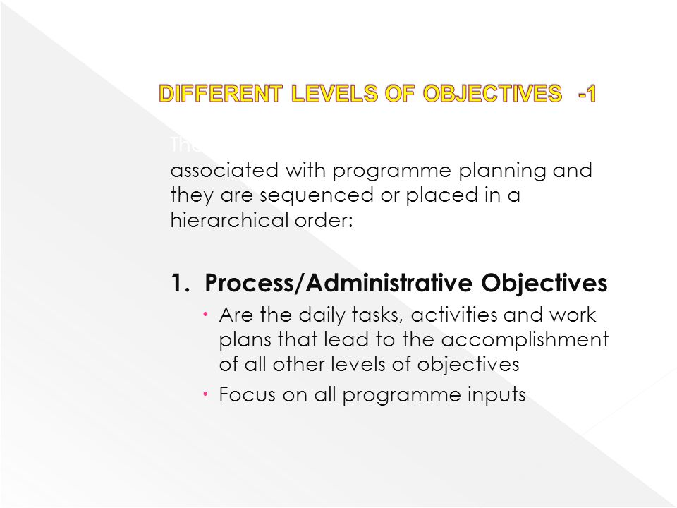 There are several levels of objectives associated with programme planning and they are sequenced or placed in a hierarchical order: 1.Process/Administ