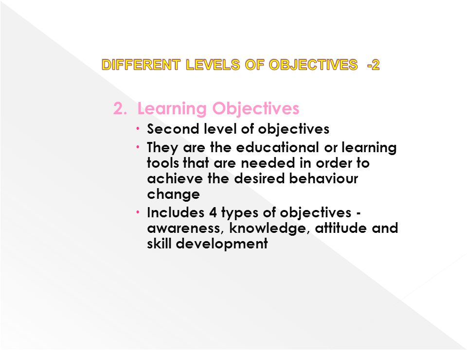 2.Learning Objectives Second level of objectives They are the educational or learning tools that are needed in order to achieve the desired behaviour