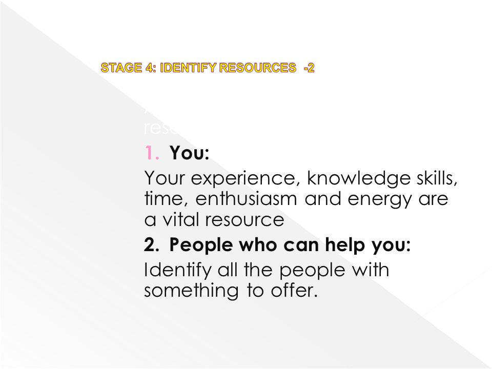 A number of different kinds of resources can be identified: 1.You: Your experience, knowledge skills, time, enthusiasm and energy are a vital resource