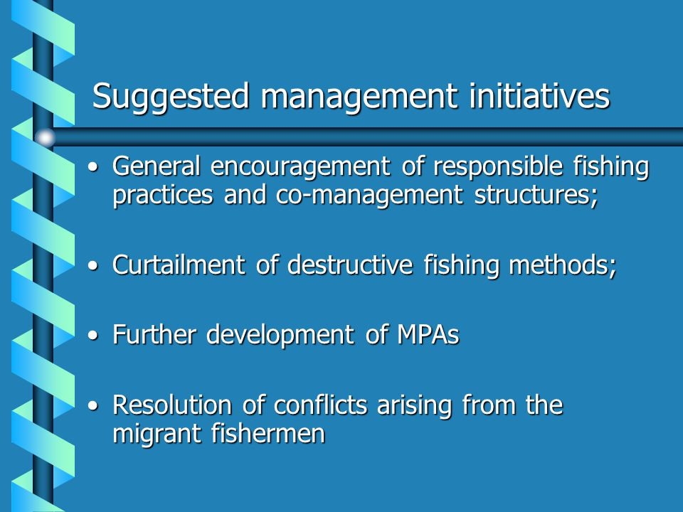 Suggested management initiatives General encouragement of responsible fishing practices and co-management structures;General encouragement of responsi
