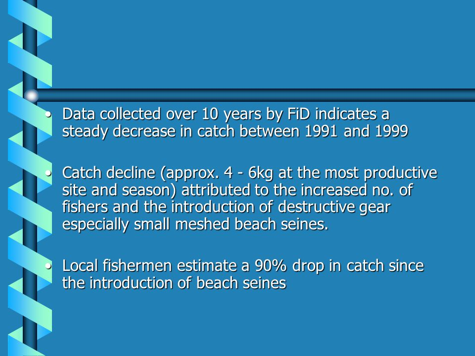 Data collected over 10 years by FiD indicates a steady decrease in catch between 1991 and 1999Data collected over 10 years by FiD indicates a steady d